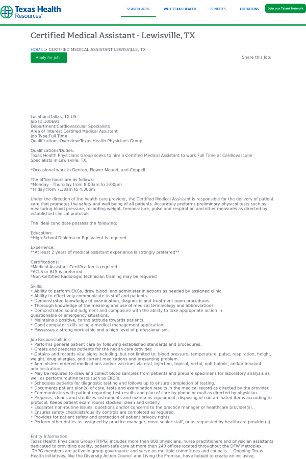 Certified Medical Assistant - Lewisville, TX job at Texas Health ...