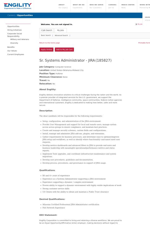 Senior Systems Administrator Jira Job At Engility Corporation In