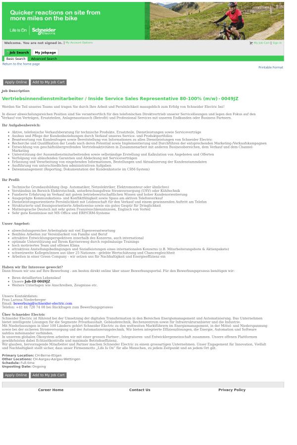 Vertriebsinnendienstmitarbeiter / Inside Service Sales ...