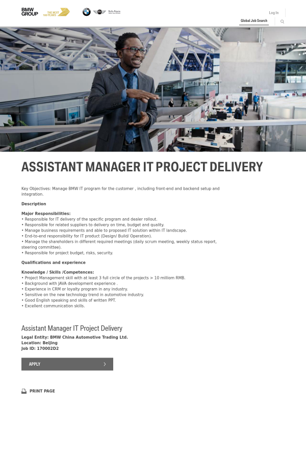 Assistant Manager IT Project Delivery job at BMW in Beijing, China