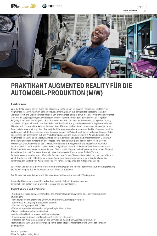 Praktikant Augmented Reality Für Die Automobil - Produktion (m/w ...