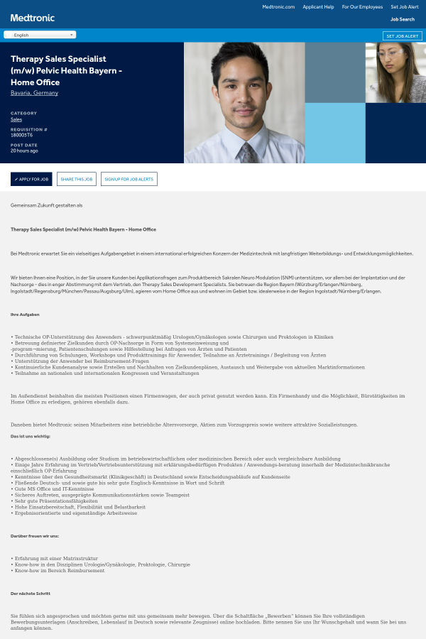 Therapy Sales Specialist (m/w) Pelvic Health Bayern - Home Office ...