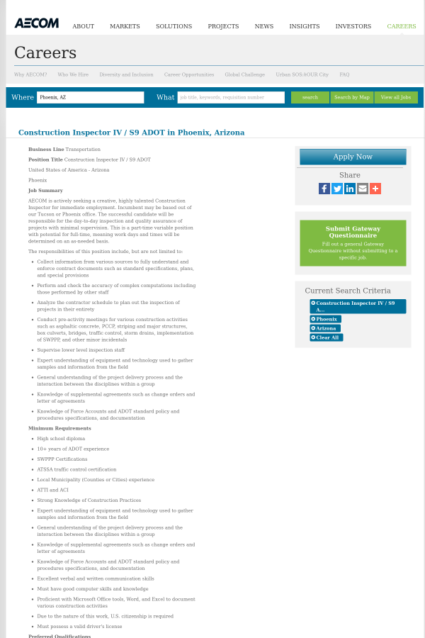 Construction Inspector IV / S9 Adot job at AECOM Technology ...