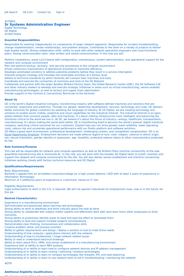 Senior Systems Administration Engineer job at General Electric in ...