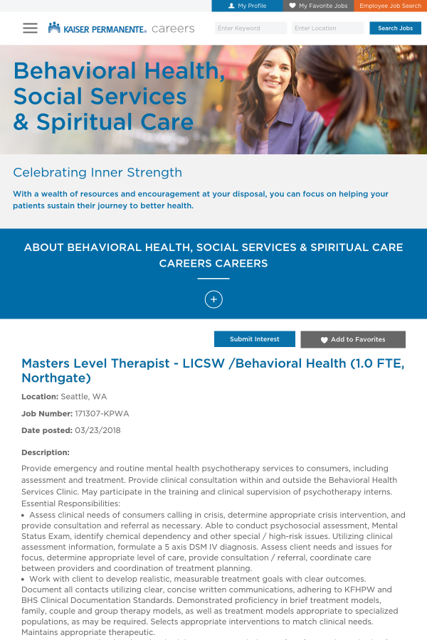 Masters Level Therapist Licsw Behavioral Health 1 Job At