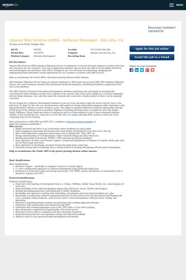 Amazon Web Services (DMS) - Software Developer - Palo Alto, CA job ...