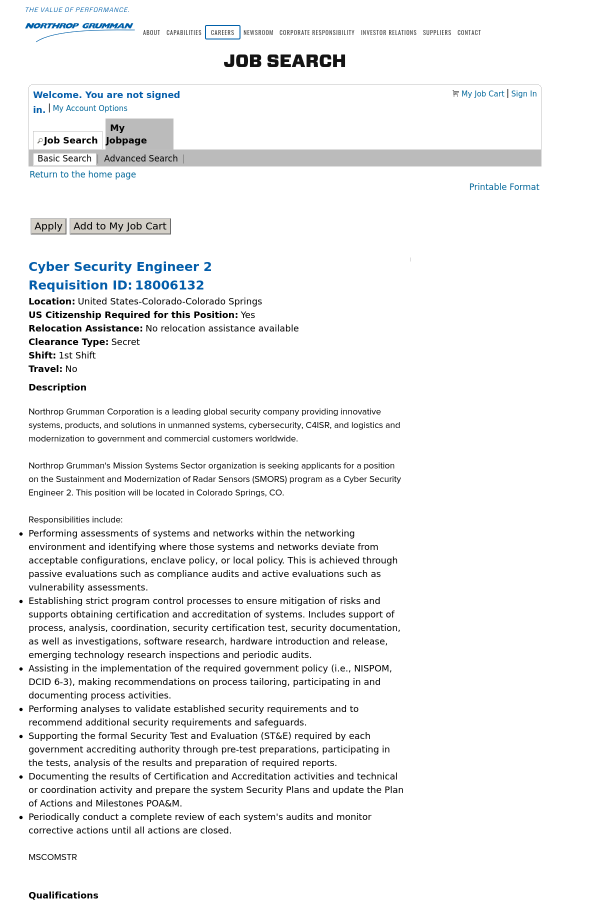 Cyber Security Engineer 2 job at Northrop Grumman