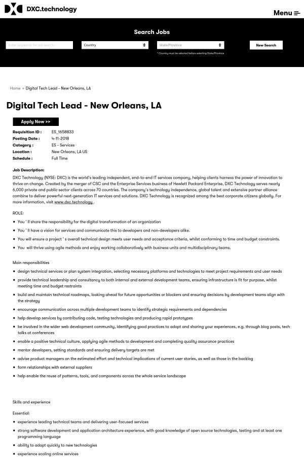digital tech lead job at dxc technology in new orleans la
