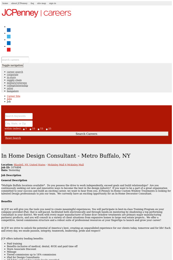 in home design consultant metro buffalo ny job at jcpenney in