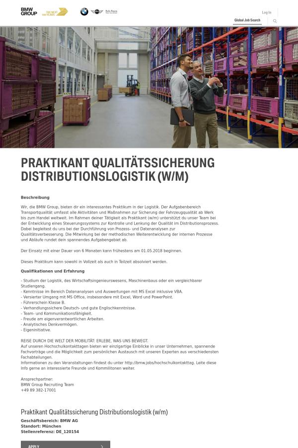 Praktikant Qualitätssicherung Distributionslogistik (w/m) job at BMW ...