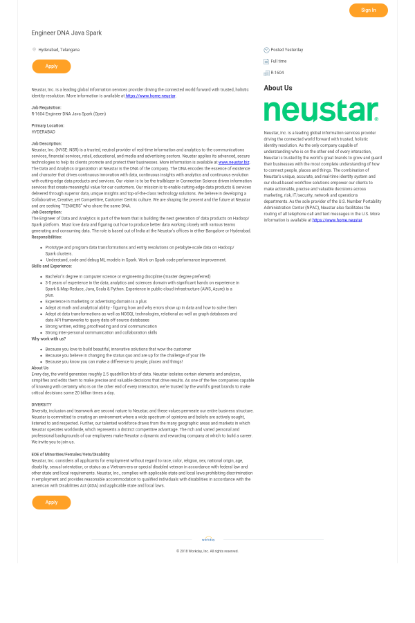 Engineer DNA Java Spark job at Neustar in Hyderabad, India