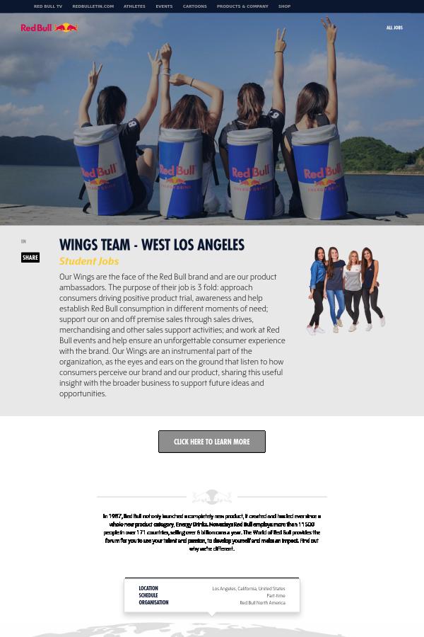 Wings Team - West Los Angeles job at Red Bull in Los Angeles, CA ...