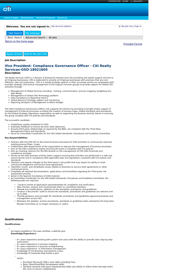 Vice President - Compliance Governance Officer - Citi Realty ...