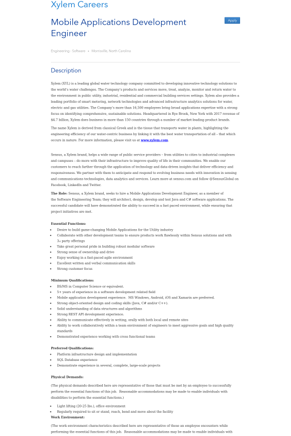 Mobile Applications Development Engineer job at Xylem in Morrisville ...