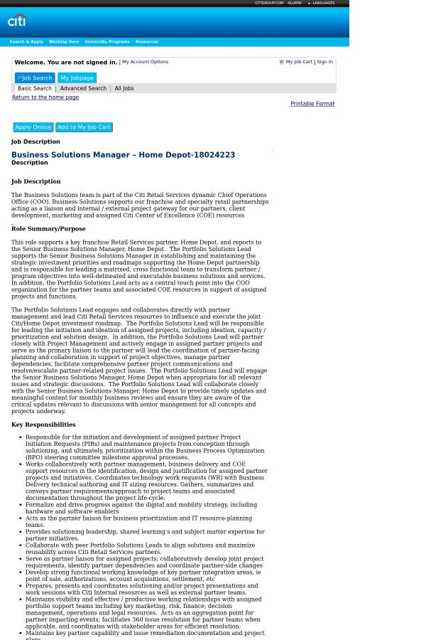 Business Solutions Manager Home Depot Job At Citi In Atlanta Ga