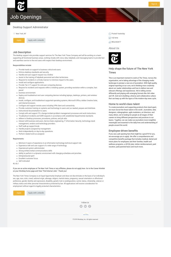 Desktop Support Administrator job at New York Times in New York City ...