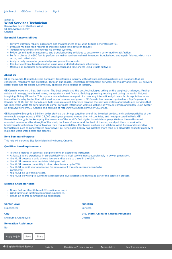 Wind Services Technician job at General Electric in Orangeville ...