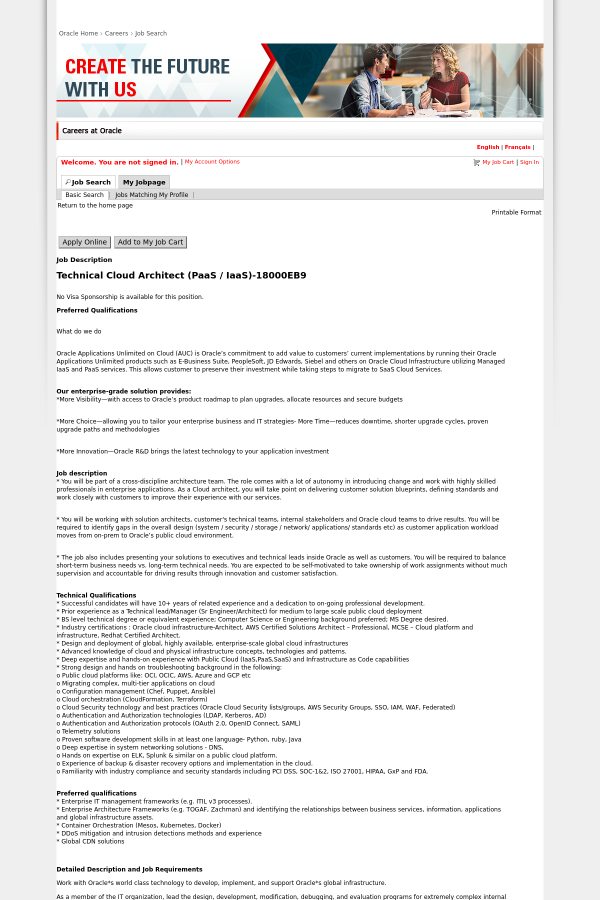Technical cloud architect paas iaas job at oracle in austin tx no malvernweather Images