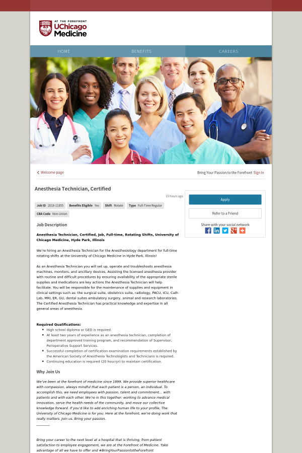 Anesthesia Technician, Certified job at University of Chicago ...