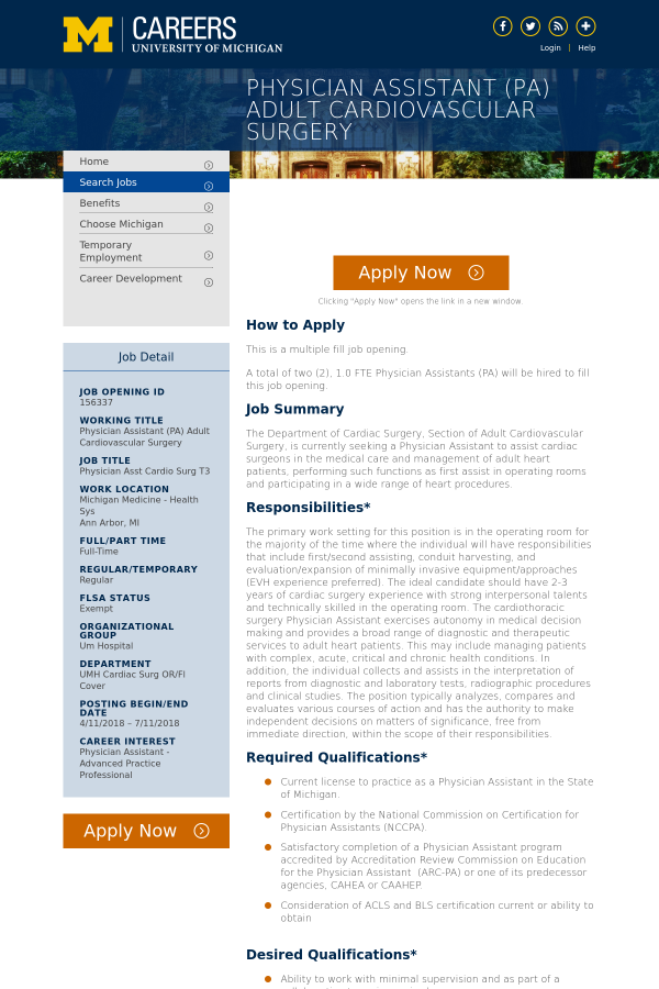 Physician Assistant Cardio Surg T3 job at University of Michigan in ...