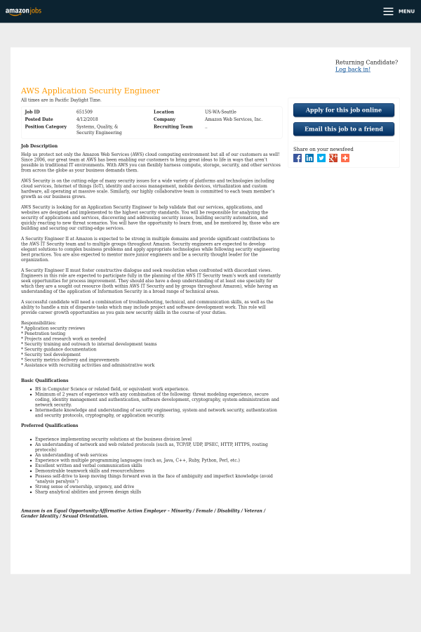 AWS Application Security Engineer job at Amazon in Seattle, WA ...