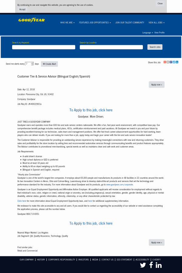 customer tire service advisor bilingual english spanish job at