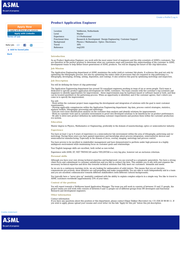 Product Application Engineer job at ASML in Veldhoven, Netherlands ...