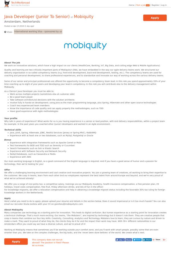 Java Developer (Junior to Senior) job at Mobiquity in Amsterdam