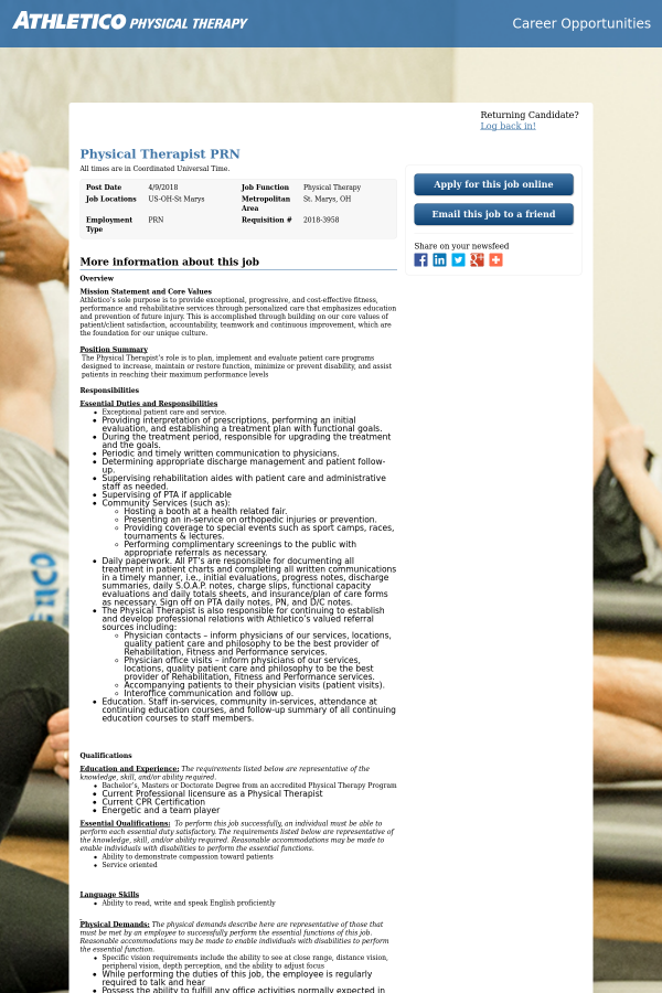 physical therapist prn job at athletico physical therapy in st