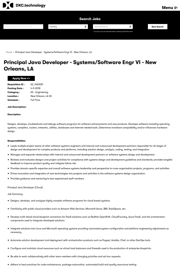 Principal java developer systems software engineer vi job at dxc requisition id malvernweather Images