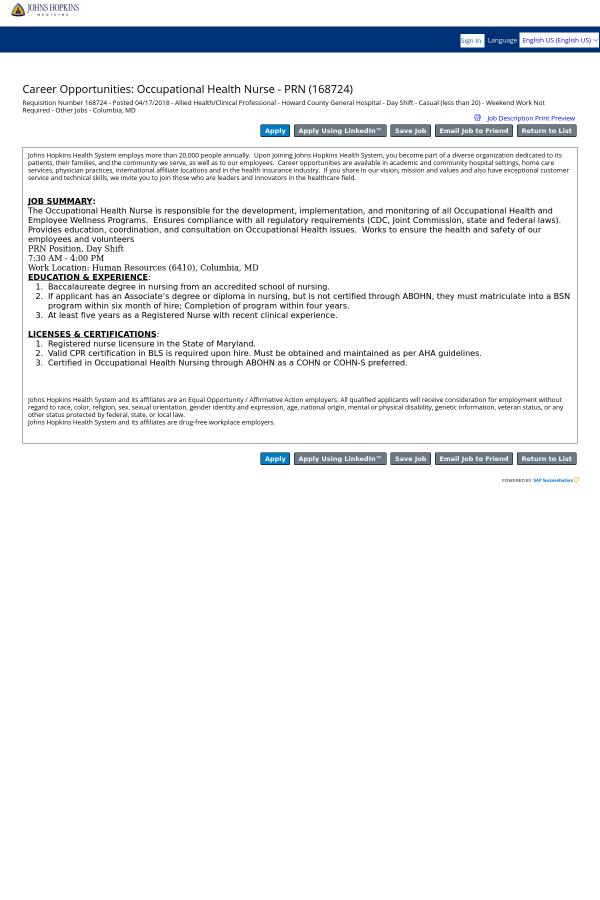Occupational Health Nurse Prn Job At Johns Hopkins Bayview Medical