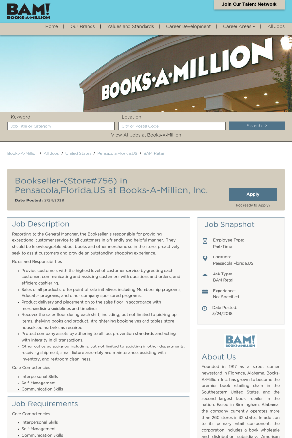 Bookseller job at Books-A-Million in Pensacola, FL