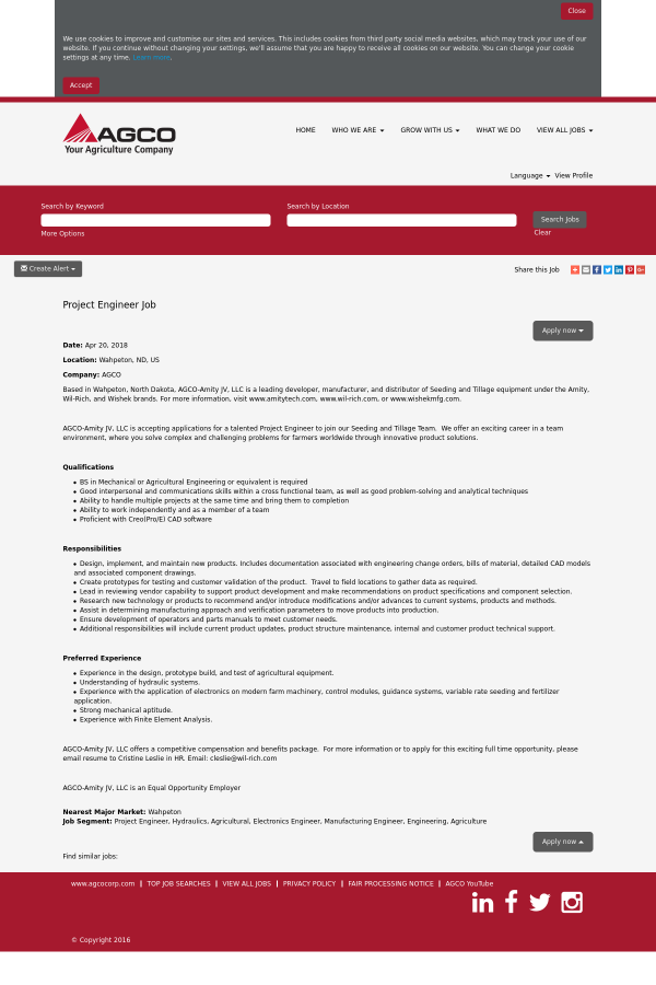 Project Engineer job at AGCO Corporation in Wahpeton, ND - 12119581
