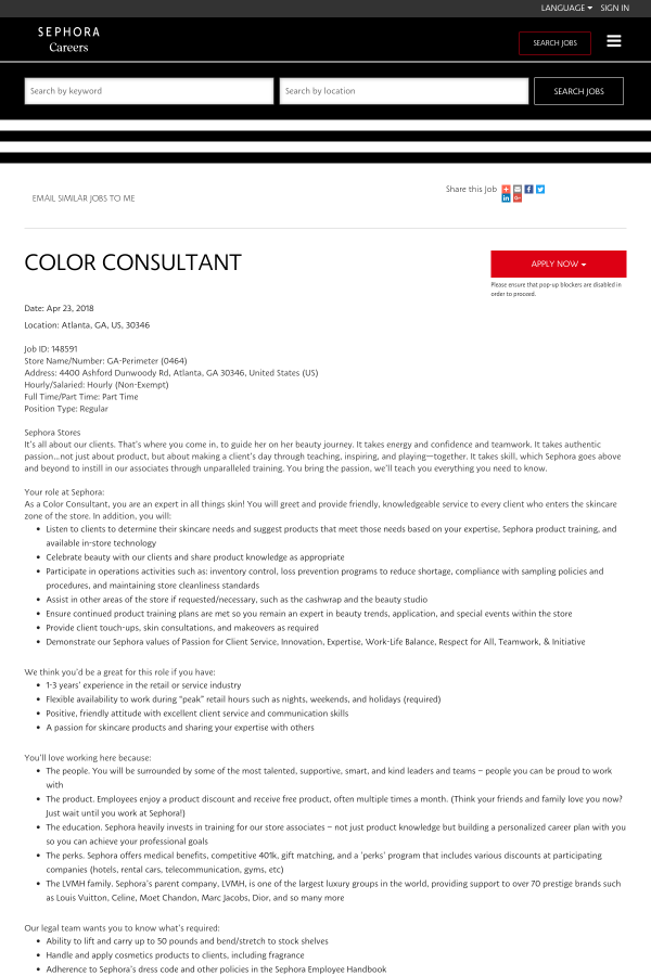 Color Consultant job at Sephora in Atlanta, GA - 12140464 | Tapwage