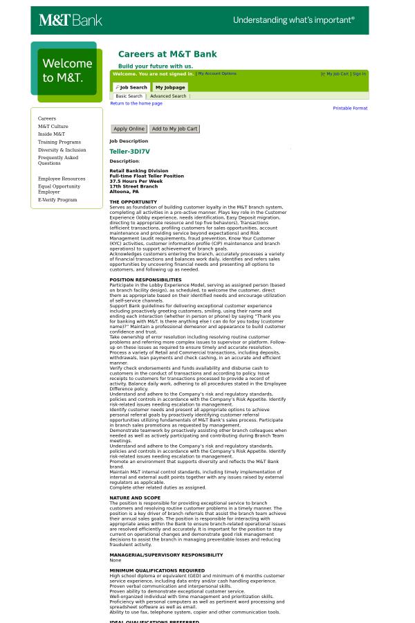 Description. : Retail Banking Division. Full Time Float Teller Position