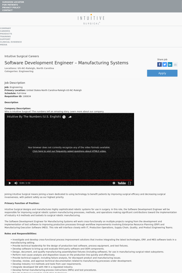 Software Development Engineer job at Intuitive Surgical in Raleigh ...