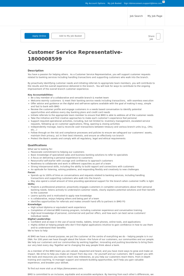 Customer service representative job at bmo harris bank in british description reheart Choice Image