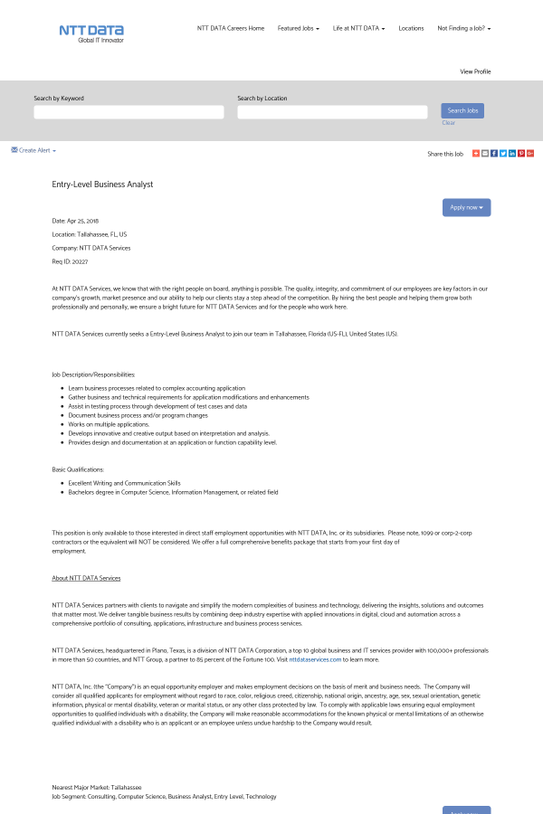 Entry Level Business Analyst Job At Ntt Data In Tallahassee Fl