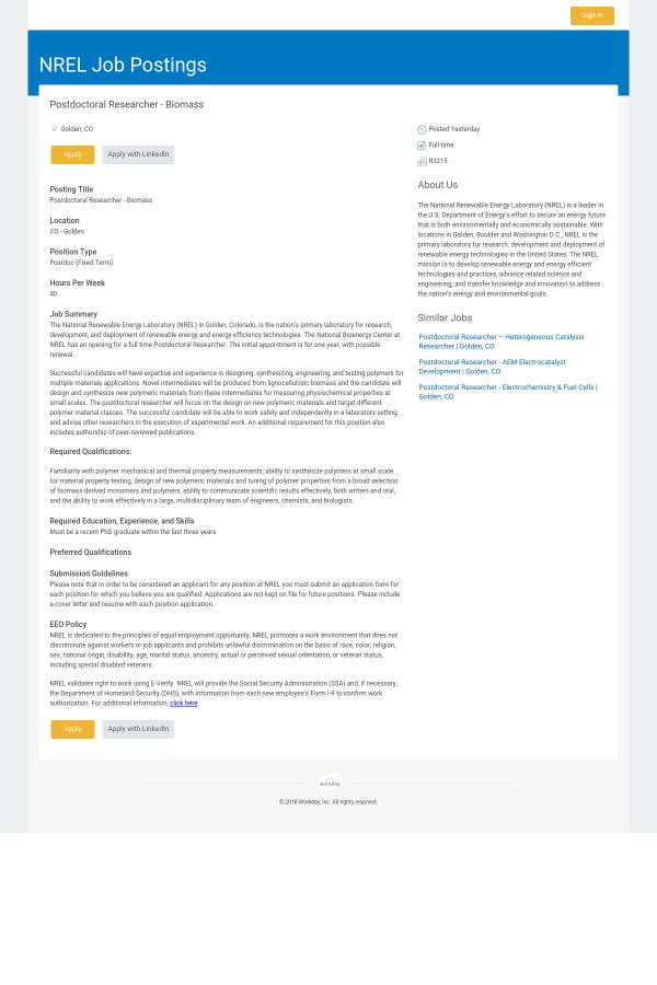 PostDoctoral Researcher - Biomass job at NREL in Golden, CO ...