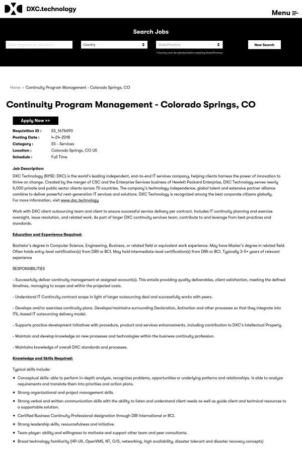 Continuity Program Management Job At Dxc Technology In Colorado