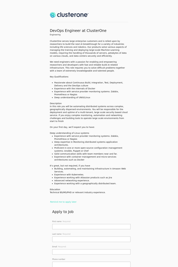 DevOps Engineer job at ClusterOne in Palo Alto, CA - 12226816