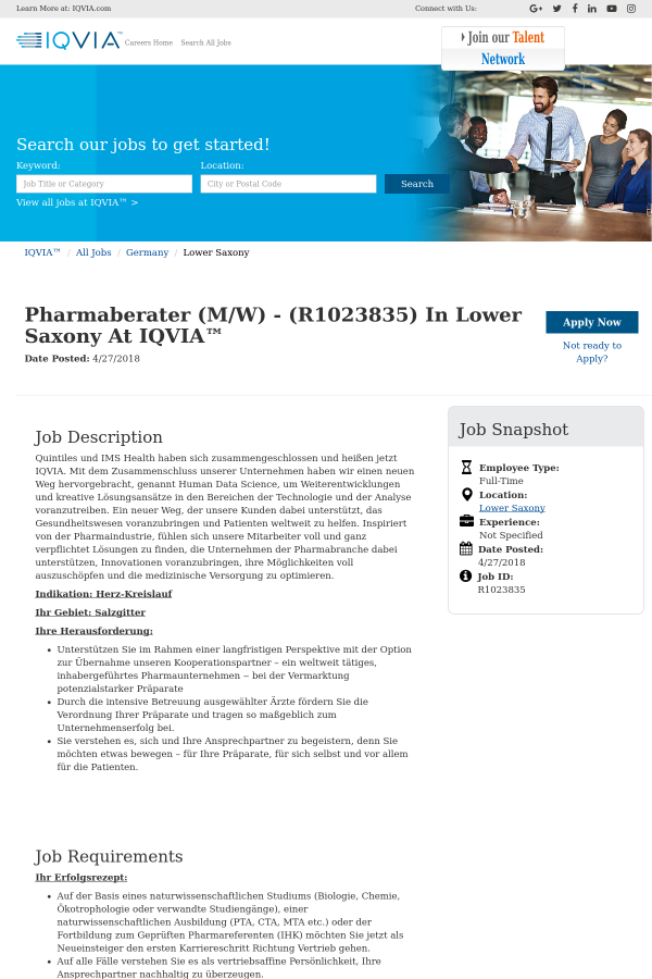Pharmaberater job at IQVIA in United States - 12231335 | Tapwage Job ...
