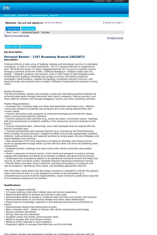 Personal Banker job at Citi in New York City, NY - 12236035