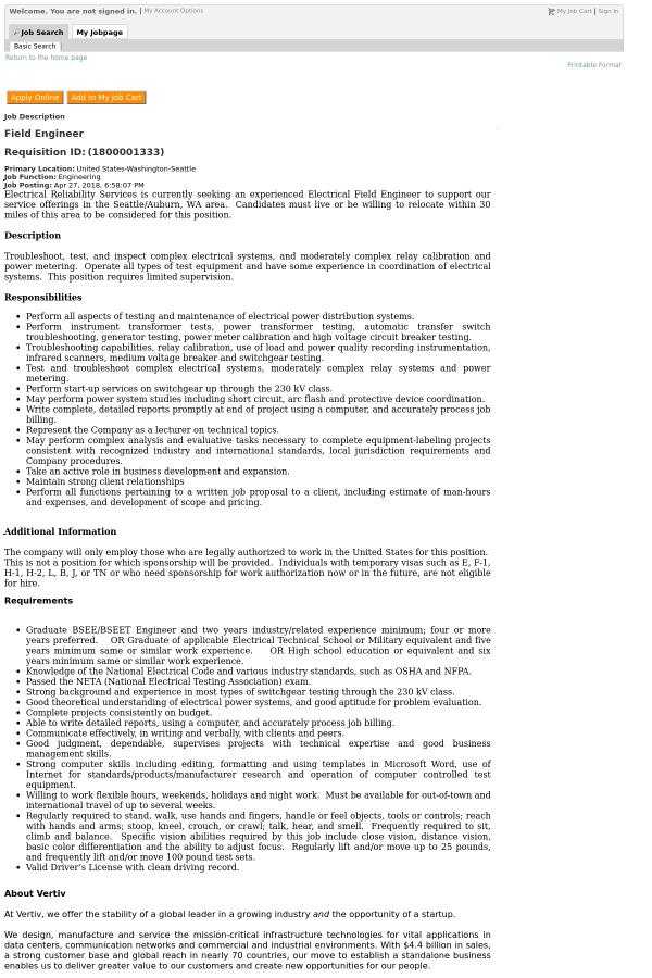 Field Engineer job at Vertiv in Seattle, WA - 12239891 | Tapwage Job ...