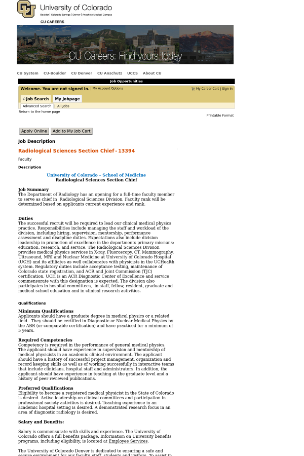 Radiological Sciences Section Chief job at University of