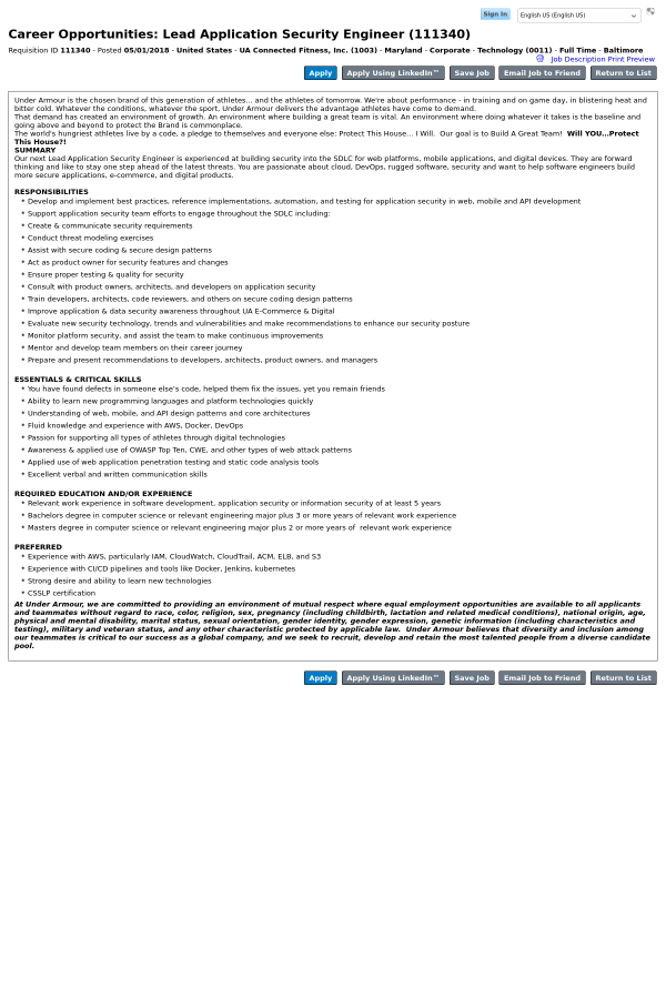 Lead Application Security Engineer job at Under Armour in Baltimore ...