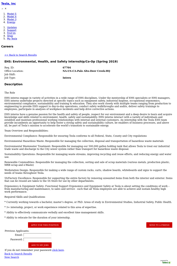 EHS: Environmental, Health, and Safety Internship / Co-op