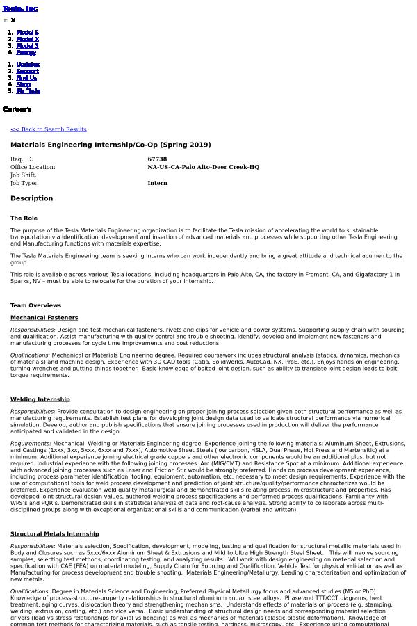 Materials Engineering Internship / Co-op (Spring 2019) job at Tesla