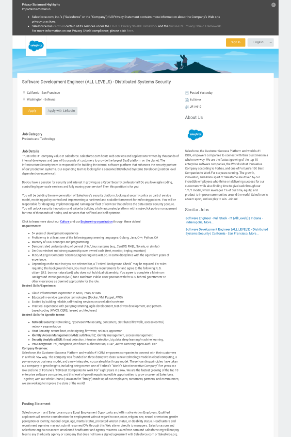 Software Development Engineer (ALL Levels) - Distributed Systems