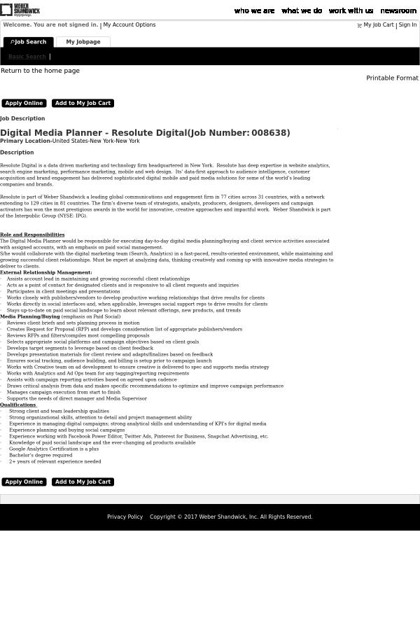 Digital Media Planner - Resolute Digital job at Weber Shandwick in ...